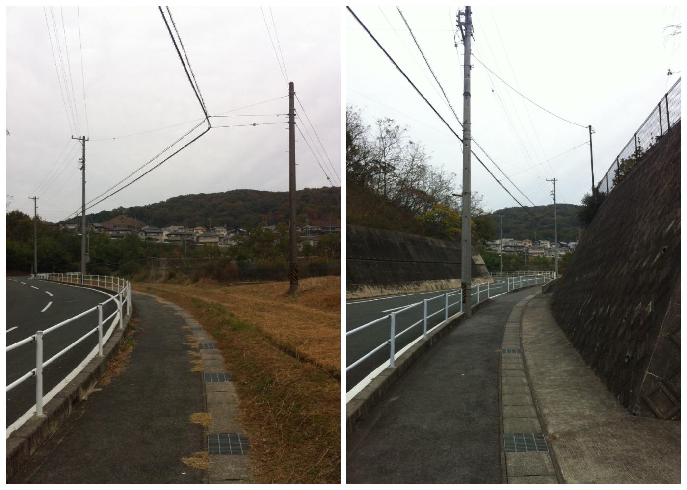 小学校から家までの道の実際の写真、かなり傾斜のきつい山道が続く